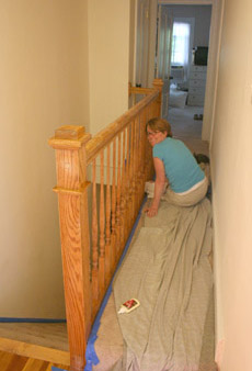 the banister, before