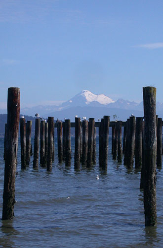 mount baker, from the ferry station in anacortes, wa